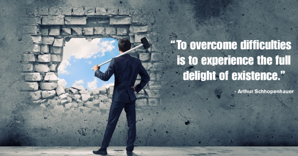 """To overcome difficulties is to experience the full delight of existence."" Arthur Schhopenhauer"